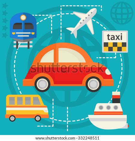 Traveling & Tourism Concept - Transport - stock vector