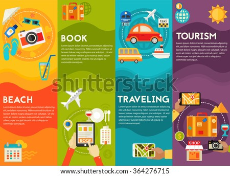 Traveling & Tourism Concepts - Sightseeing and Shopping, Searching and Booking, Holidays and Vacation On the Beach, Transportation - stock vector
