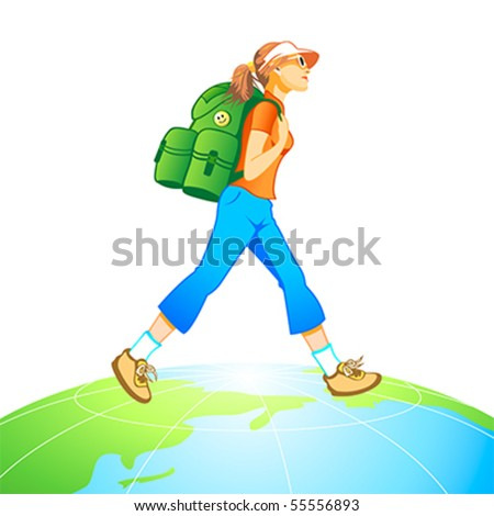 Traveling tourist girl with backpack at the top of world globe - stock vector