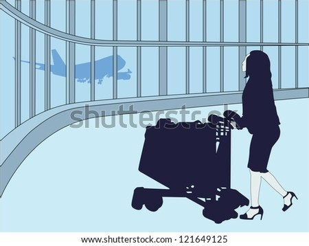 traveling woman in airport - stock vector