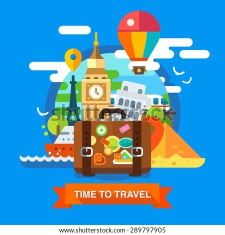 Traveller set on summer vacations. Vector flat illustration - stock vector