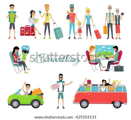 Travelling autostop flat. Set of character people. Happy young man standing with a sign hitchhiking and raised his thumb up. Vintage van with cheerful people in the windows. Vectpr illustration - stock vector