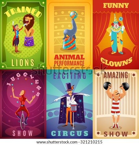 Travelling circus amazing show announcement 6 flat banners composition with trained animals performance abstract isolated vector illustration