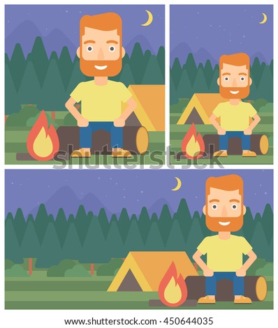 Travelling man sitting on a log near a fire on a background of camping site with tent. Man sitting near a campfire at a campsite. Vector flat design illustration. Square, horizontal, vertical layouts. - stock vector