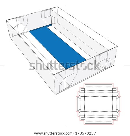 Tray Box with Blueprint Layout - stock vector