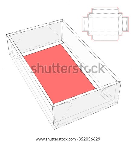 Tray Box with Die-cut Pattern - stock vector