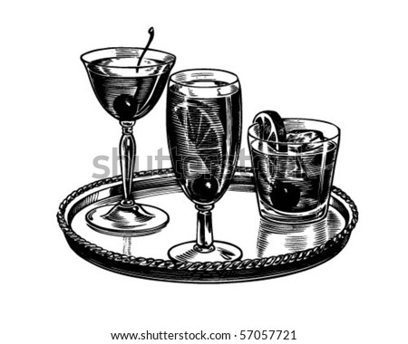 Tray Of Cocktails - Retro Clip Art - stock vector