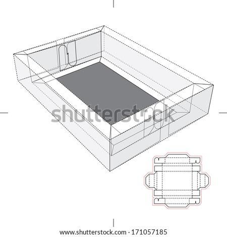 Tray with tick Border and Blueprint Layout - stock vector