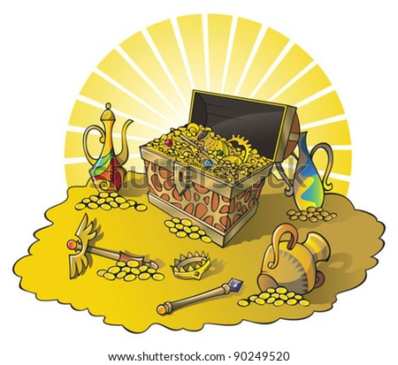 Treasure chest and other wealth, vector illustration - stock vector