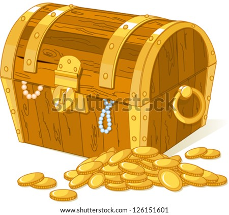 Treasure chest and pile of gold - stock vector