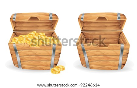 Treasure chest, full and empty - stock vector