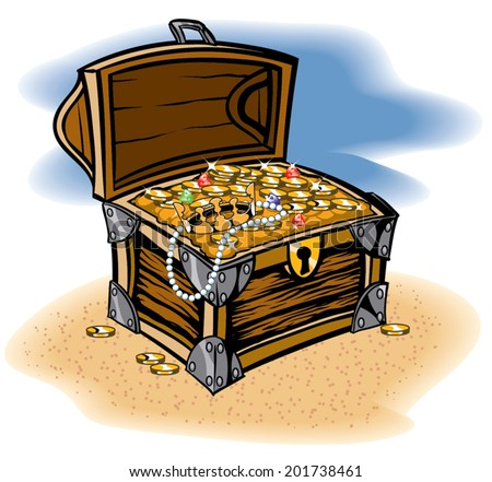 Treasure Chest full of a bounty of coins and jewels - stock vector