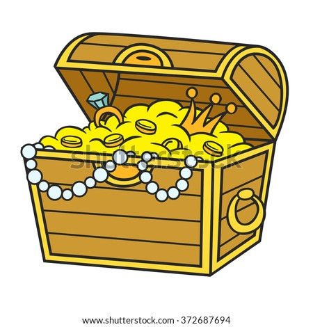 Treasure Chest Full Gold Jewels Cartoon Stock Vector ...