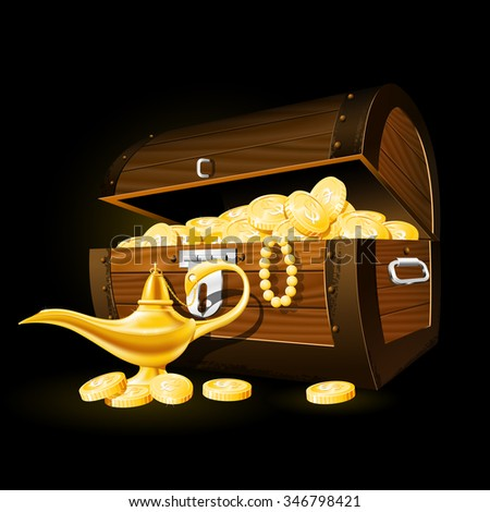 Treasure chest of coins and magic lamp - stock vector