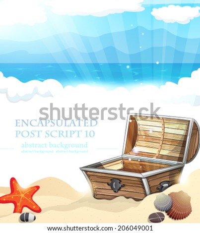Treasure Chest on sandy beach of ocean coast - stock vector