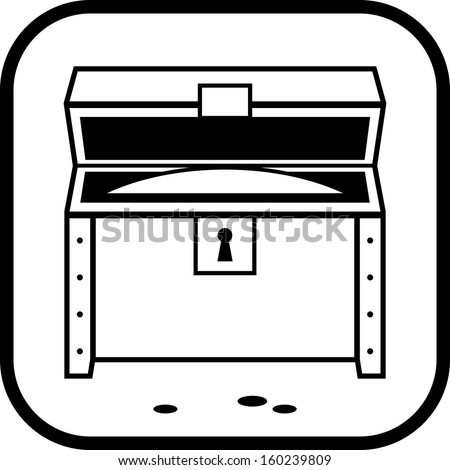 Treasure chest open Vector icon isolated  - stock vector