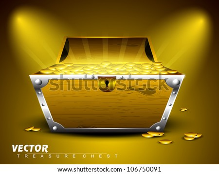Treasure chest with full of coins on shiny abstract background. EPS 10. - stock vector