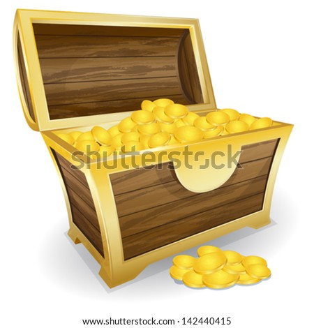 treasure chest with gold coin - stock vector