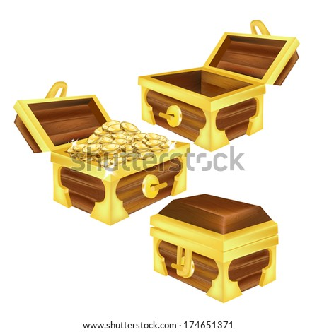 treasure chests, open, closed and filled with coins isolated on white - stock vector