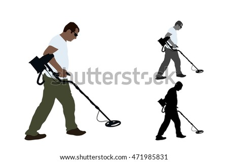 Treasure hunter using a metal detector