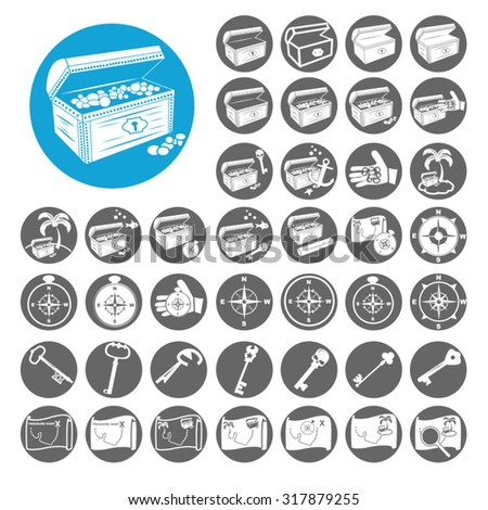 Treasure icons set. Illustration EPS10 - stock vector