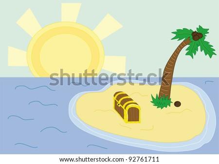 Treasure island - clip art illustration - stock vector