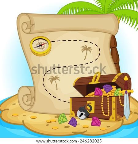 treasure map and treasure chest on island - vector illustration, eps  - stock vector