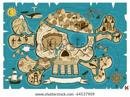 Treasure Map: Map of  treasure island in the shape of skull and bones. Use the X in the lower right corner to mark the place of the treasure. No transparency and gradients used. - stock vector