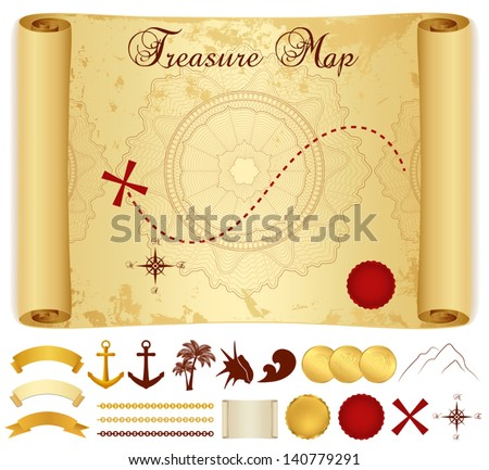 Treasure Map on old / vintage / antique paper (scroll or parchment) with cross, red mark, compass, anchor, banner ribbon, palm tree. Treasure hunt (Searching). Medieval Cartography. Vector template - stock vector