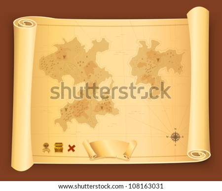 Treasure Map On Parchment Scroll/ Illustration of a vintage antique pirate treasure map on scroll parchment - stock vector