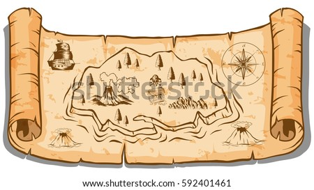 volcano island old pirate treasure map stock vector