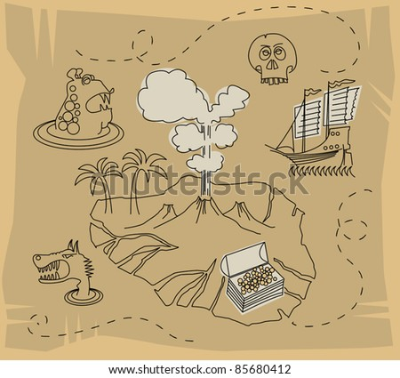 Treasure map set, vector illustration