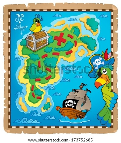 Treasure map topic image 9 - eps10 vector illustration.