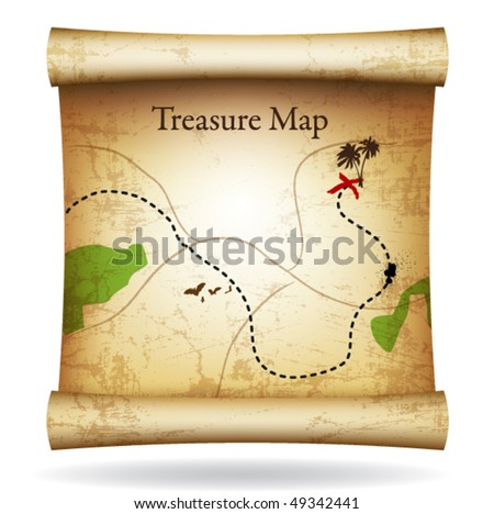 Treasure map. Vector. - stock vector