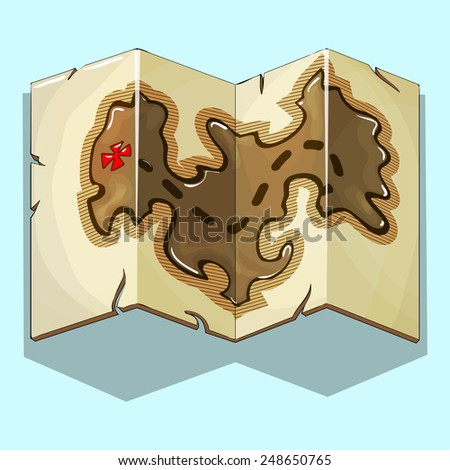 Treasure map. Vector illustration. - stock vector