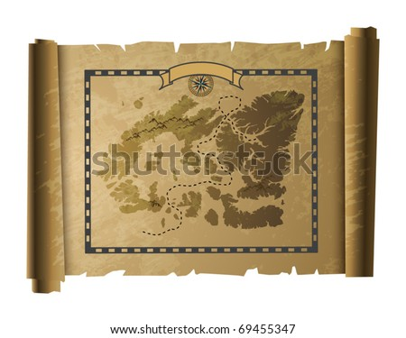 Treasure map, vector illustration - stock vector
