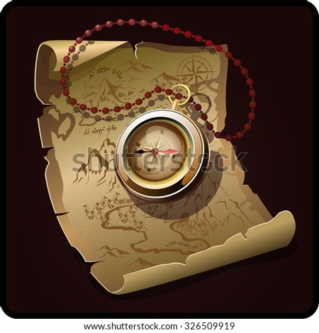 treasure map with compass - stock vector