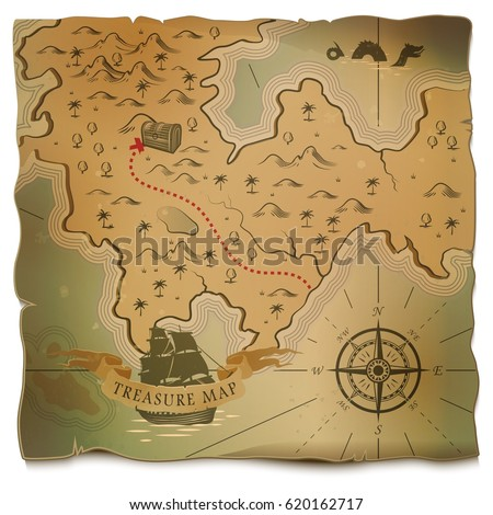 Treasure On Island And Ship Or Boat Vintage Map With Ocean Sea Path