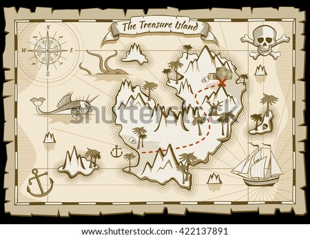 Treasure pirate hand drawn vector map.