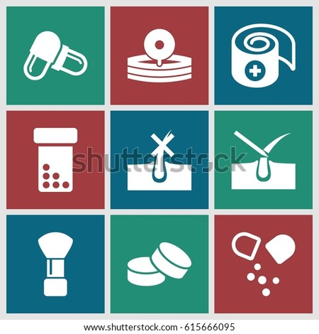 Treatment icons set. set of 9 treatment filled icons such as shaving brush, no hair in skin, shave hair in skin, tablet, pill, medical reflector, bandage