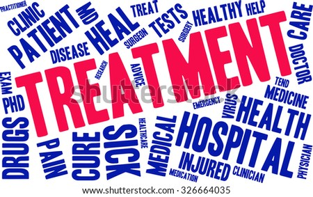 Treatment word cloud on a white background.