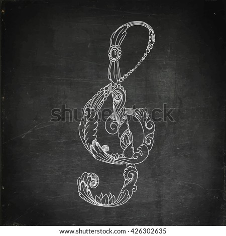 Treble clef. Chalk board drawing. Hand drawn vector stock illustration - stock vector