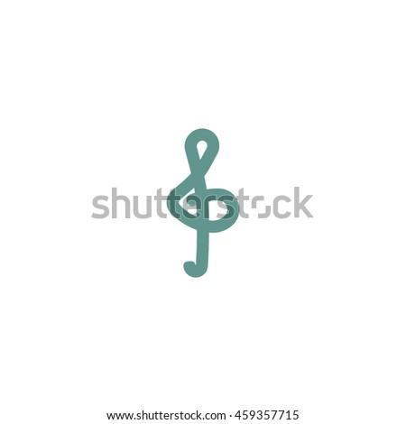treble clef icon - stock vector