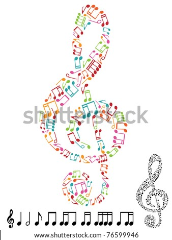treble clef made from musical notes isolated on white