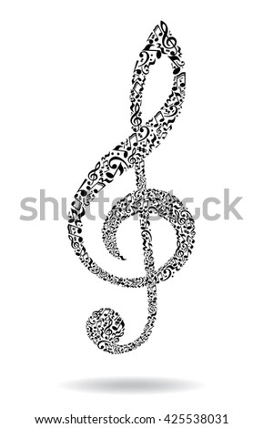 Treble clef made of music notes. Music concept Vector illustration isolated on white background.  - stock vector