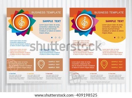 Treble clef symbol on abstract vector brochure template. Flyer layout. Flat style.