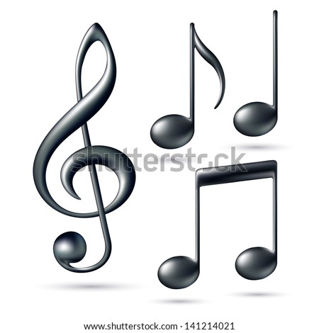 Treble clef with notes isolated on white background. Vector illustration - stock vector
