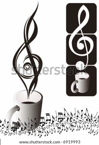 Treble clef with perfect smoke - stock vector