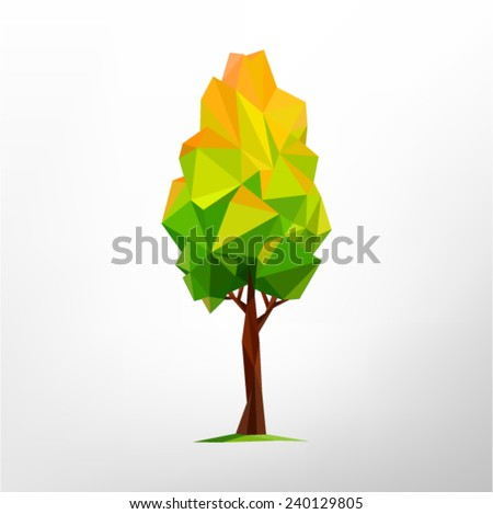 Tree abstract isolated on a white background (autumn illustration of a many triangles) - stock vector
