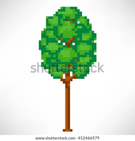 Tree abstract isolated on a white background. Vector illustration in the style of old-school pixel art. - stock vector